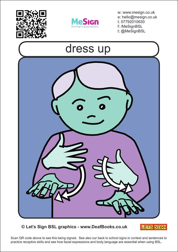 Dress Up BSL flash cards