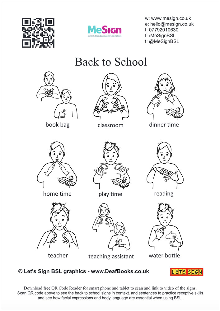 Back to School BSL flash cards
